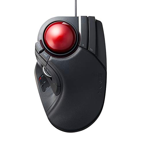 ELECOM Wired Finger-operated Large size Trackball Mouse 8-Button Function with Smooth Tracking,...