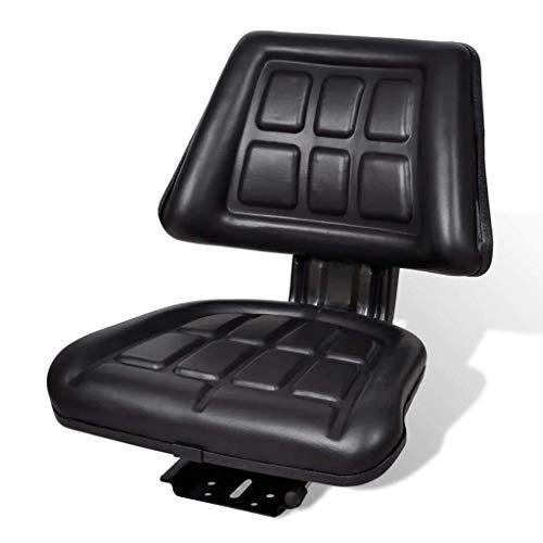 vidaXL Asiento para Tractor con Respaldo Negro Acero y PVC Silla de Maquinaria