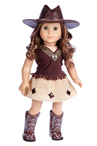 - Cowgirl - 4 Piece Outfit - Cowgirl Hat, Skirt, Top and Cowgirl Boots - Clothes Fits 18 Inch American Girl Doll (Doll Not Included)