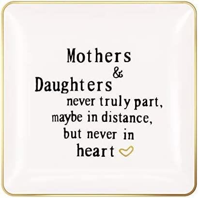 ANIKAY Mom Birthday Gifts from Daughter Ring Trinket Dish Mothers and Daughters Never Truly product image
