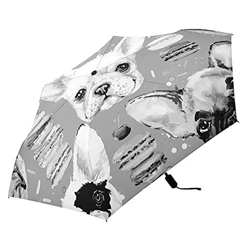Oyihfvs French Bulldog Donuts Seamless Folding Umbrella, Strong Lightweight Travel Rain Umbrella, Portable Compact Sun Parasol with UV Protection