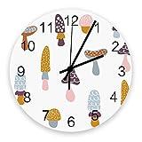 GOSMAO Reloj de Pared Setas extrañas con Puntos de Onda Reloj sin tictac Cuarzo Funciona con Pilas Redondo para Sala de Estar Dormitorios Cocinas de Oficina Sala de Clase