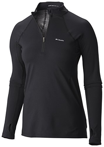 Columbia Midweight Stretch Long Sleeve Half Zip Camiseta térmica con Media Cremallera, Mujer, Negro, L