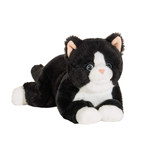 Hermann Teddy Collection 91835 6 - Peluche Gato Blanco y Negro Tumbado 30 cm