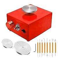 ミニ陶器ホイール、陶器ホイール4.5 / 6.5 / 10cmターンテーブルマシン電気陶器ホイールDIYクレイツールセラミックワークセラミックス粘土アートクラフト,赤,UK Plugs