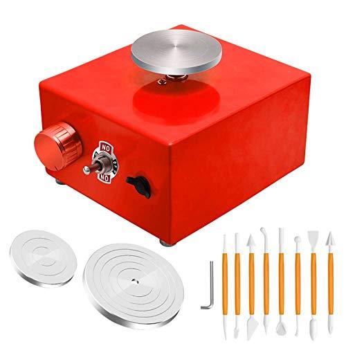 Cutfouwe Mini Rueda Potery eléctrica, Rueda giratoria de alfombras, máquina de la Rueda de Arcilla DIY con 3 Mini Tocadiscos,Rojo,US Plugs