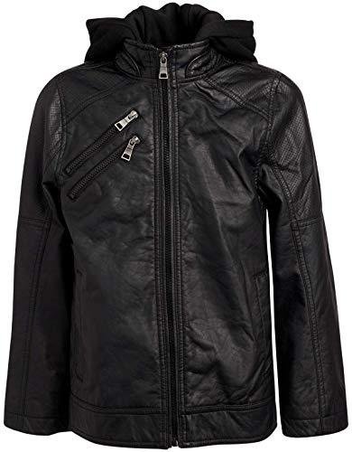Urban Republic Boys Faux Leather Moto Jacket with Zipper Pockets and Fleece Hood, Size 4, Black Moto