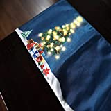 Christmas Table Runner LED Light Battery Operated Cotton for New Year Holiday Family Dinners or Parties, Indoor or Outdoor.Make Your Table Shine(13x80, Seats 8-10 People) (Christmas Tree)