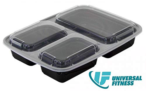 [10 Pack] UF | 3 Compartment BPA-Free Reusable Meal Prep Containers |