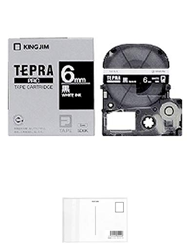 キングジム テープカートリッジ テプラPRO SD6K 黒 白文字 6mm + 画材屋ドットコム ポストカードA