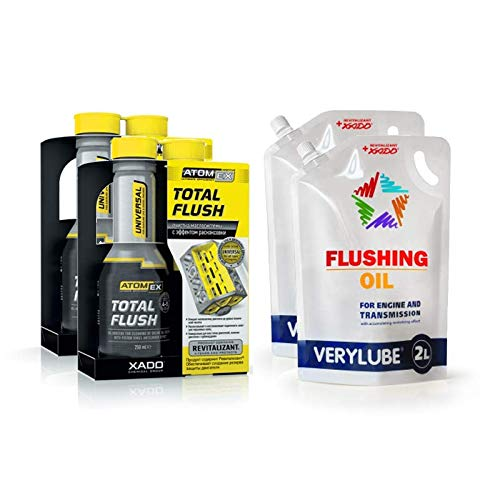 XADO Set für Motorreinigung und Motorspülung - 2X Total Flush + 2X Spülöl