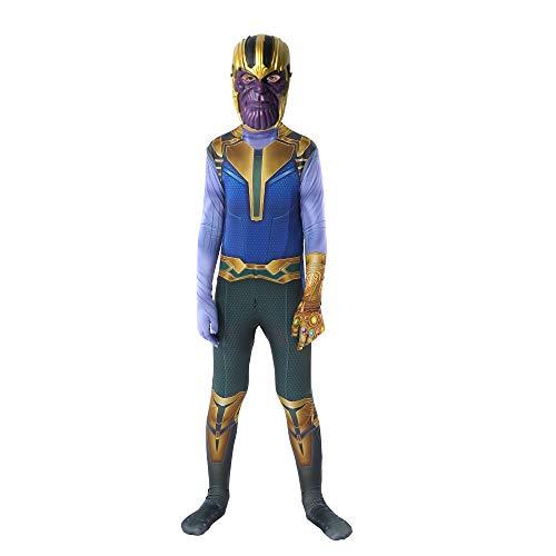 Superhero Thanos Costume for Kids,3D Bodysuit Halloween Thanos Cosplay Costumes for Boy (L, Thanos)