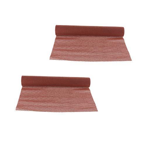 F Fityle 2 Stücke Braun 50x200 cm Rollenmatten rutschfeste PVC Küchenschrank Teppich Auto Armaturenbrett Schublade Liner Matte, Trim Zu Passen