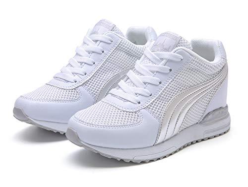 Kimpola Baskets Mode Compensées Femme Chaussures Compensées Plateforme Chaussure de Sport Marche Gym Fitness Sneakers Haute Compensées 7 cm Gris Noir Blanc 34-40 EU