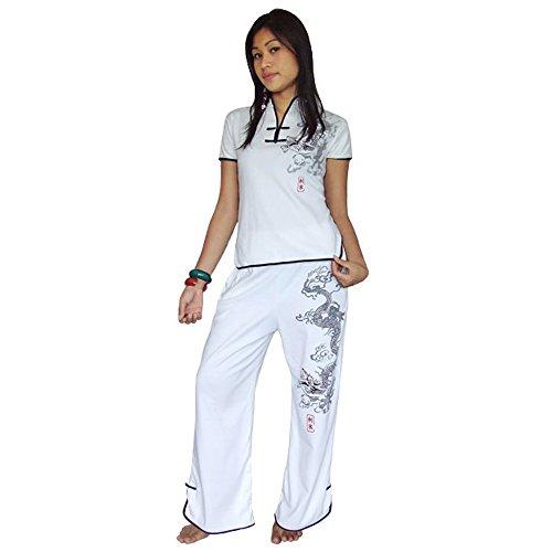 Princess of Asia Asien Damen Frauen Yoga Trainingsanzug,Tai Chi, Hausanzug & Meditations Anzug Baumwolle Weiß L