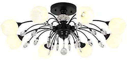 DJPP Candelabro Candelabro de 8 Luces Luz Colgante Luz Ambiental Acabados Pintados Metal Vidrio Cristal, Mate 110-240V Blanco Cálido G9 para Sala de Estar, Techo de 78 X 37Cm