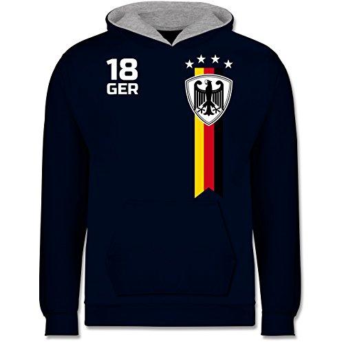 Fußball-Europameisterschaft 2020 Kinder - WM Fan-Shirt Deutschland - 116 (5/6 Jahre) - Navy Blau/Grau meliert - Nationalmannschaft - JH003K - Kinder Kontrast Hoodie