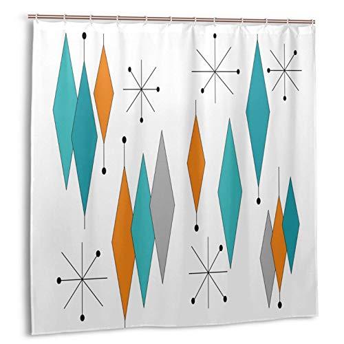 DZGlobal Mid Century Modern Shower Curtain Geometric Turquoise Orange Diamond Bathroom Curtain Sets 72 × 72 1950s Decor Polyester Fabric Curtain with 12 Shower Hooks