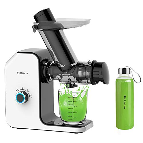 Slow Juicer Picberm Entsafter Gemüse und Obst Saftpresse 75mm Breiter Einfüllschacht BPA-frei Entsafters Früchte Saft Press mit Ruhiger Motor und Umkehrfunktion Inkl. Bürste und Flasche, Weiß