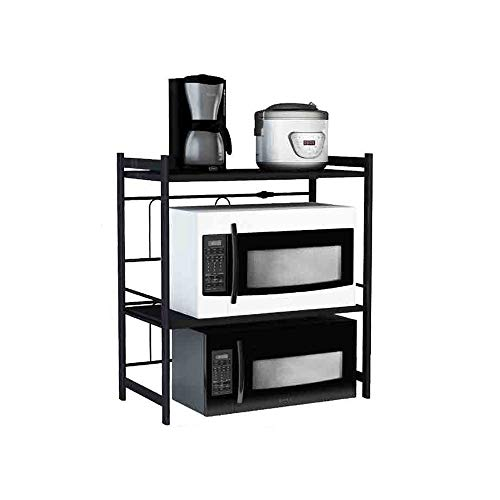 GLJJQMY Estante de Cocina Estante de microondas de una Sola Capa Rejilla de mostrador de Cocina Negro expandible (Size : 43-63x38x78cm)
