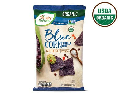 Simply Nature USDA Organic Gluten-Free Blue Corn Tortilla Chips Made with Sea Salt - 8.25 oz. Bag
