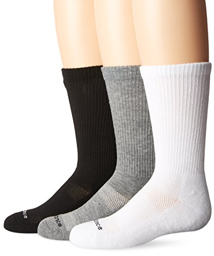 New Balance Kids Unisex 3 Pack Crew Sock, Small, Black/Grey/White