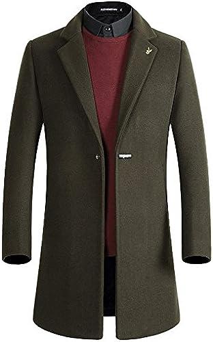 Les Hommes de Manteaux de Fourrure de la Mode et Coupe - Vent Style Manteau en Laine à Long,armée vert,XL