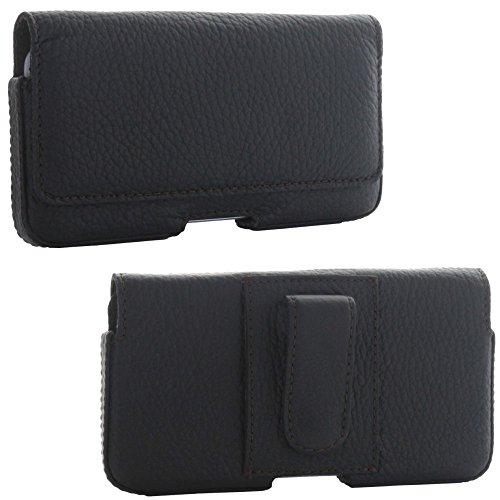 XiRRiX Leder Quer Handy Gürteltasche 3.1 mit Stahlclip 2XL kompatibel mit iPhone 6 7 8 - Samsung Galaxy A3 2017 / S4 - Tasche schwarz