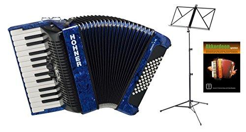 Hohner Bravo III 48 Akkordeon blau SET inkl. Notenständer und Schule (Pianoakkordeon, 48-Bässe, 2-Chöre, 2 Register, inkl. Trageriemen, Gigbag Tasche, Noten)