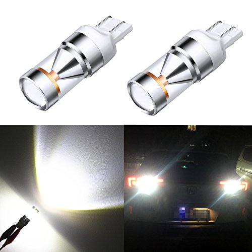 Alla Lighting Genuine CREE XB-D Xtremely Super Bright 1200 Lumens 6000K Xenon White 7443 7440 T20 W21W LED Bulb for Back-up Reverse Light Lamp Bulbs Replacement