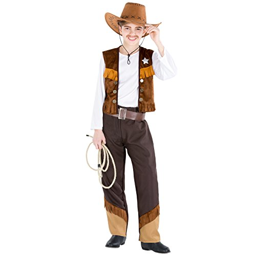 TecTake dressforfun Jungenkostüm Cowboy Luke | inkl. Kunstleder-Gürtel und Weste mit Stern (8-10 Jahre | Nr. 300618)