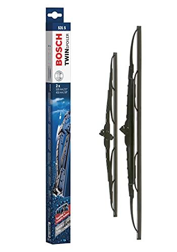 Bosch Balais d'essuie–glace plats conventionnel Twin Spoiler 531S, Longueur: 530mm/450mm – 1 paire de balais avant