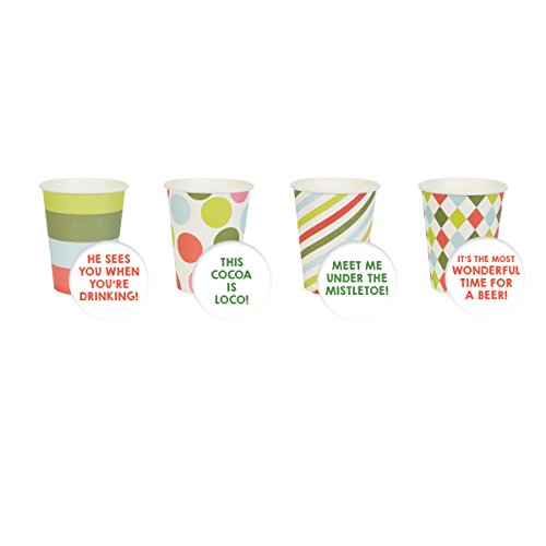 """C.R. Gibson 9 Ounce Paper Cup, 12 Cups, 6 Of Each 2 Designs, All Stacked Together, Measures 3"""" D x 3.75"""" H - Mixed Patterns"""