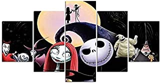 WSJXY 5 Canvas Paintings Printed Canvas Art Poster 5 Piece Ghost Anime Poster Nightmare Before Christmas Terror Picture Decor Wall Painting