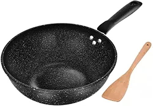 ywewsq Wok Sartén Antiadherente sin Aceite Olla de Humo Estufa de Gas Olla de cocción de Fondo Plano Olla de cocción Sartén Antiadherente Sartén de Cocina Olla de Cocina Sartén de Cocina (Color: 32