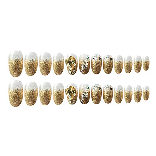 CSCH Valse nagels Gouden nagellak met glitter nep nagels gedrukt op nagel kist decoratie