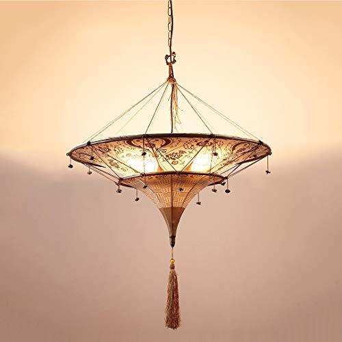 Zenghh Araña 80x70 cm extra grande techo colgante ligero doble cubierta indio tailandés tribal tótem tótem lámpara paraguas forma tela impresa linterna suave iluminación lámpara para hotel lobby porch