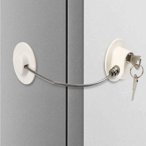 Kindersicherung für Kühlschrank, Sicherheitsbegrenzung Schloss, Kühlschrankschloss und Türschloss, Starkes Klebeschloss mit Edelstahl Schlüsselzylinder für Kindersicherung zum Kleben Schloss (3)