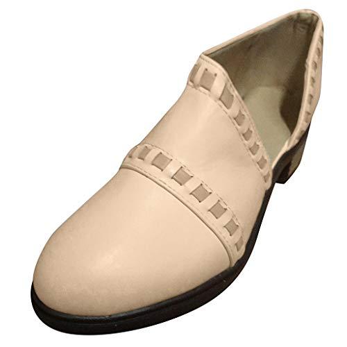 TIFIY Damen Boots Mode Retro Womens Wohnungen Komfortable Low-Heel rutschfeste römischen Schuh kurze Stiefel Wild Draussen Freizeit Mode Schuhe(Beige,36)