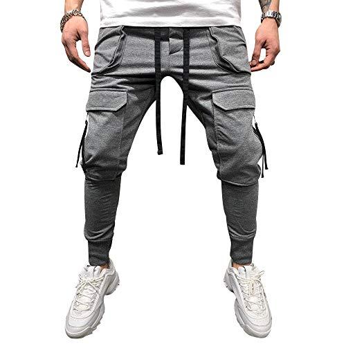 lexiart Mens Fashion Athletie Cargo Pants - Casual Joggers Sweatpants Slim Fit Pants Grey US XL