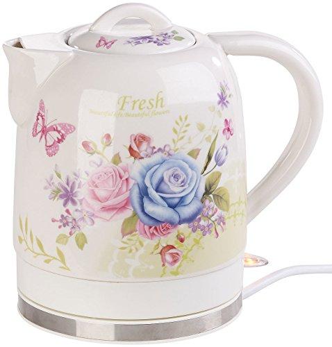 Rosenstein & Söhne Wasserkocher Blumen: Keramik-Wasserkocher mit Blumenmuster, 1,7 Liter, 1.500 Watt (Wasserkocher Porzellan)