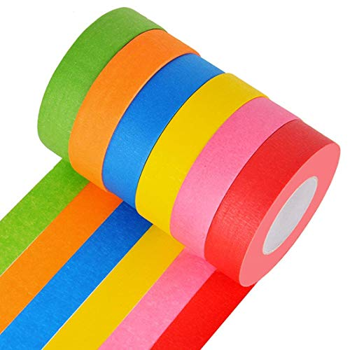 DEWEL Bright Colored Masking Tape,6 Pack 1 Inch 22 Yard Rolls Board Line Classroom Decorations Tape, Labeling,DIY Art Supplies for Kids