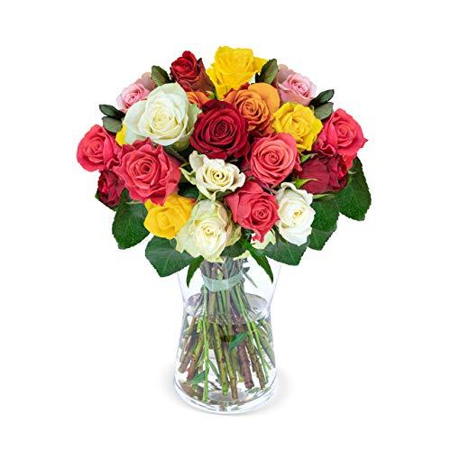 20 bunte Rosen - Blumenstrauß – ideale Geschenkidee- Blumenversand - Rosenstrauß - Schnittrosen - 50 cm Länge - 7-Tage-Frischegarantie - 30 cm Durchmesser