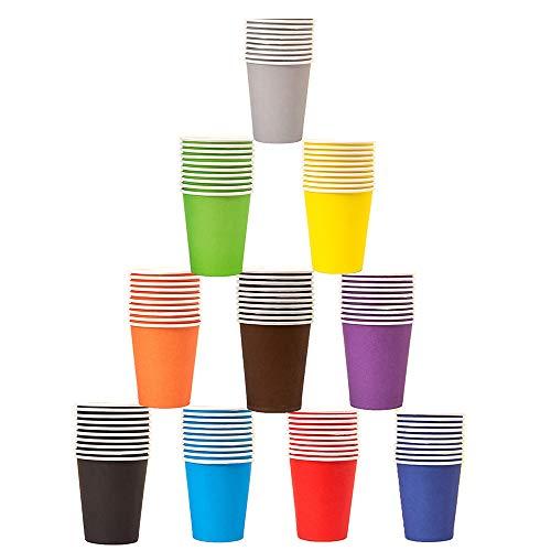 Vasos de Papel Desechable para Fiestas,100 Piezas Vaso de Papel de Color Desechable,Vasos de Papel Fiesta de Cumpleaños,Papel Café Té Vasos Desechables,para Bebidas Calientes o Frías (10 Colores)