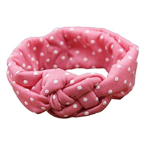 Fulltime(TM) Bébés Dot Cross Enfants Weave Twist Bandeau photographie Accessoires cheveux (rose)