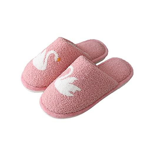 Zapatillas de estar por casa, Zapatillas De Casa De Invierno Para Mujeres, Zapatos Antideslizantes De La Casa De Swan Pattern Hotel Student Dormitorio Zapatillas Calientes Sof(Size:39/40,Color:Rosado)