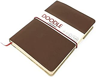Artway Doodle - Dark Brown Leather Journal/Sketchbook - 150gsm (92lb) Cartridge Paper - 7 x 5 inch - 82 Pages - Cocoa