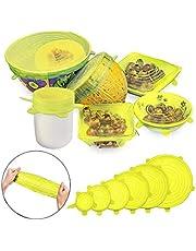أغطية قابلة للتمدد من السيليكون 6 قطع من YOMYM - تناسب أحجام مختلفة أشكال الحاويات، قابلة لإعادة الاستخدام، متينة، غير لاصقة لحفظ الطعام طازجاً - ملعقة مسطحة سيليكون ومسند ملعقة (أصفر)