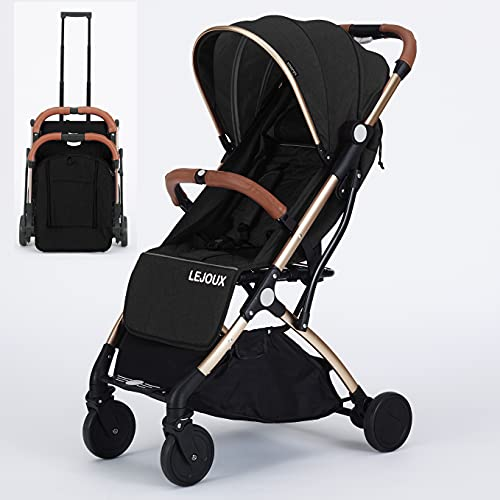 Baby Pushchair Stroller– Lightweight Foldable Travel Buggy with 5-Point Harness, Adjustable Seat Back and Oversize Basket Folds with 1 Hand – Smooth Swivel Wheels Rain Cover (Black)