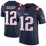 Camiseta de fútbol Americano Tom Brady, Camiseta de Rugby para Hombre New England Patriots # 12, Camisetas de Entrenamiento de Manga Corta Elite Edition-Blue-S